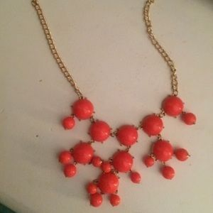 Jewelry - Coral orange gold statement necklace